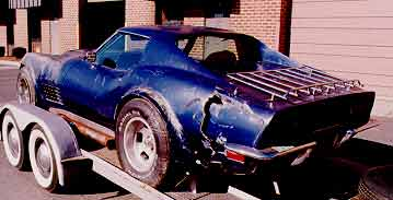 Wrecked blue corvette